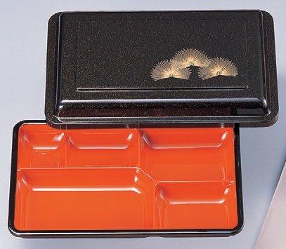 幕の内弁当 8寸副食入れ梨地若松内朱 [25.5 x 17 x 5.4cm] ABS樹脂 (7-421-2) 料亭 旅館 和食器 飲食店 業務用