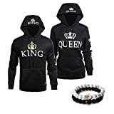 YJQ King Queen Matching Couple Hoodies and Bracelets His and Her Sweatshirts & Beads Bracelets(Mens XXL+Womens L Black)