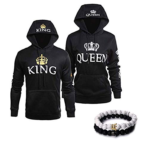 YJQ King Queen Matching Couple Hoodies and Bracelets His and Her Sweatshirts & Beads Bracelets(Mens L+Womens M Black)