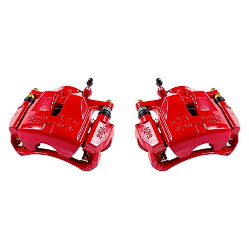 Callahan CCK01557 [2] FRONT Performance Grade Red Powder Coated Semi-Loaded Caliper Assembly Pair Set