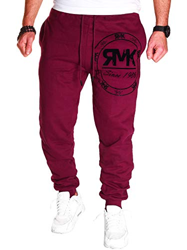 RMK Herren Hose Jogginghose Trainingshose Sporthose Fitnesshose Sweatpants Uni Einfarbig H.08 (M, Bordeaux)