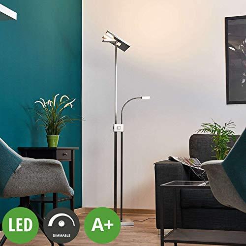 Lindby LED Stehlampe 'Nala' dimmbar (Modern) in Alu aus Aluminium u.a. für Wohnzimmer & Esszimmer (A+, inkl. Leuchtmittel) - Wohnzimmerlampe, Stehleuchte, Floor Lamp, Deckenfluter, Standleuchte