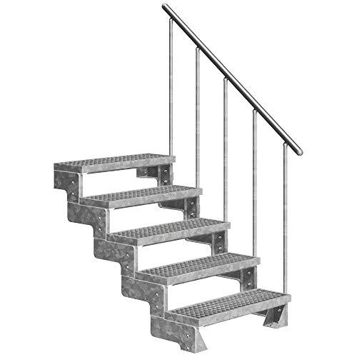 DOLLE Außentreppe Gardentop mit 5 Stufen   Geschosshöhe 90-110 cm │ Stufenauflage Gitterroststufen │ Stufenbreite: 80 cm   mit Einzelstabgeländer