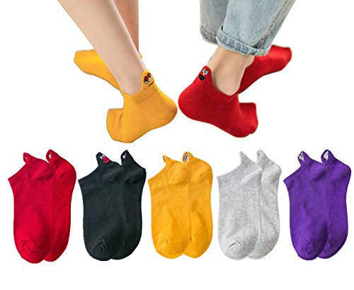 5 Pairs Ankle Socks Cotton Low Cut Socks No Show Socks Invisible Socks for Women