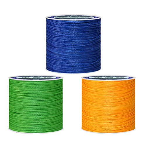Find Bargain Artibetter 3pcs 0.45mm Leather Sewing Waxed Thread Bright Color Polyester Braided Cord for Leather Hand Stitching (About 160m, Fruit Green+Royal-Blue+Yellow)