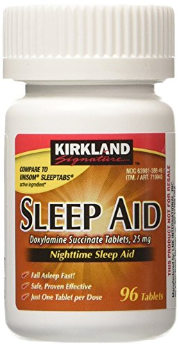 Kirkland Signature Sleep Aid Doxylamine Succinate 25 Mg, 96-Count (1 Bottle) Nighttime Sleep Aid