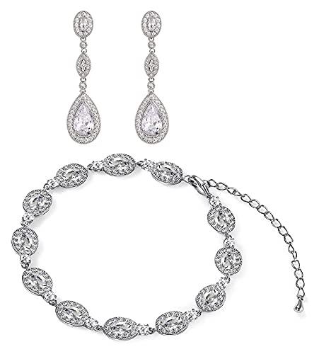 Lzpzz Pendientes de novia y pulseras de circonita cúbica con forma de lágrima para mujer y novias – Pendientes colgantes de cristal con diamantes de imitación