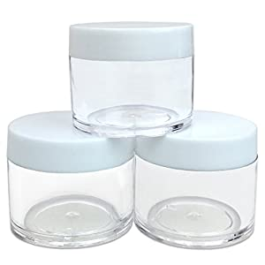 Beauticom 30G/30ML (1 Oz) Round Clear Jars with White Lids for Cosmetics, Medication, Lab and Field Research Samples, Beauty and Health Aids - BPA Free (Quantity: 3 Pieces)