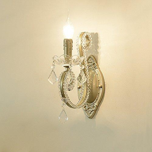 Kreativ Eisen Wandlampe Retro Antik Wandleuchte Lampe für Wohnzimmer Schlafzimmer Esszimmer Aisle Flur Klassisch Transparente Kristall Leuchte Zimmer Beleuchtung E14 L10* H28 cm Goldfarben