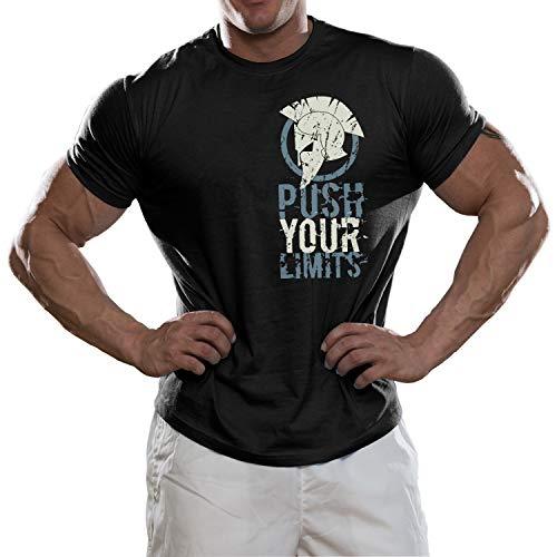 DesignDivil Spartan Push Your Limits Bodybuilder t-Shirt Palestra o Casual Top Nero L