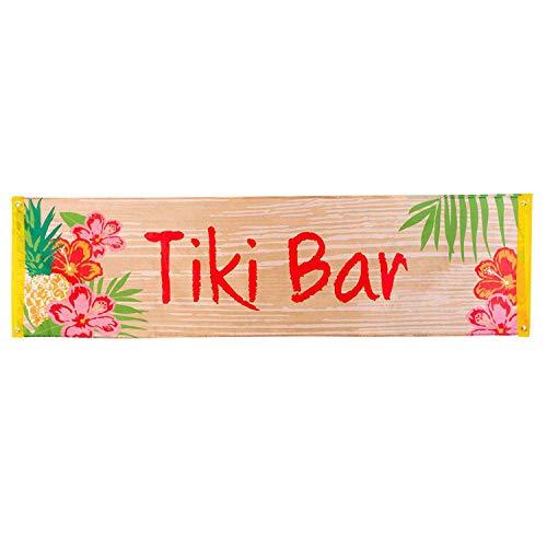 Boland 52490 – Banderín Tiki Bar, tamaño 50 x 180 cm, de poliéster, bandera con diseño, decoración, fiesta en la playa, carnaval, fiesta temática, cumpleaños