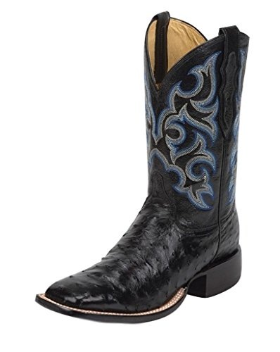 Justin Men's Truman Full Quill Ostrich Cowboy Boot Square Toe Black 13 EE