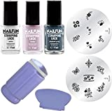 Stamping Set CHARMING Colors - Clear Jelly Stamper transparent + Scrapper + Stampinglack weiss 11ml + Stamping-Lack elephant gray 11ml + Stamping Lack flieder + KONAD Stamping Schablone M02 + KONAD Stampingschablone M76