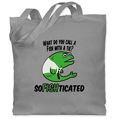 Sprüche - What do you call a fish with a tie? SoFishticated - Unisize - Hellgrau - what da fish - WM101 - Stoffbeutel aus Baumwolle Jutebeutel lange Henkel