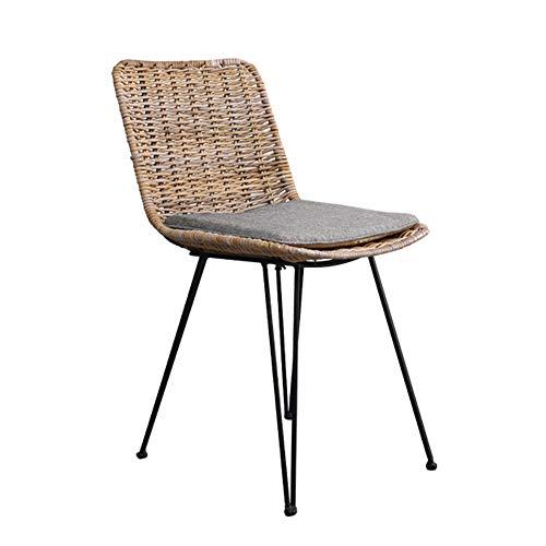 Silla de comedor de ratán para el hogar retro silla de comedor de cocina de estilo japonés silla de maquillaje de dormitorio anti-desgaste silla de café silla de estudio de hierro sillón 83*46*59cm