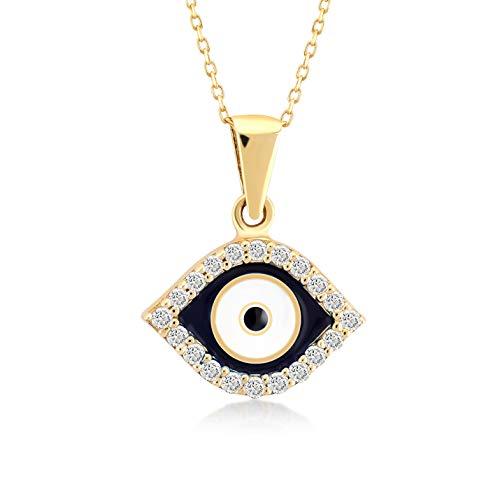 Collar Gelin para mujer y niña, de oro amarillo 585 de 14 quilates, con colgante de oro, amuleto contra el mal de ojos, regalo para cumpleaños, Navidad, cadena de 45 cm