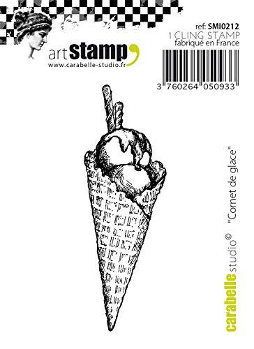 Carabelle Studio SMI0212 Tampon Cling Art, Cornet de Glace, pour Les projets d'emboutissage, création de Cartes et scrapbooks, Transparent, 5, 1 x 12, 7 x 0, 8 cm