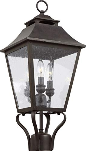 "Feiss OL14406SBL Galena Outdoor Post Lantern, Sable 3-Light (10"" L x 23"" H) 180 Watts"