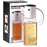 QiKun-Home Botella dispensadora de Aceite de Oliva para Cocina Vaso de vinagre de Cocina con Tapa abatible automática y Botella de vertido de Aceite con Boquilla antigoteo Blanco Negro 20,2x6,6 cm