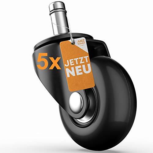 AMZHANDEL Hartboden-Rollen Ø48mm für Bürostuhl mit 11mm Stift - austauschbare Gummirollen für jeden Hartboden - vermeidet Kratzer & Macken im Parkett - ideal für den Schreibtischstuhl & Bürostuhl…