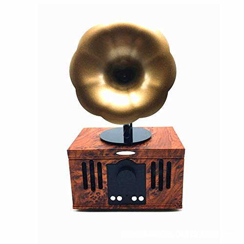 DAMAI STORE Retro Grammophon Lautsprecher Bluetooth Mini-Lautsprecher Tragbare Elektronische Geschenke Kreative Windet Bluetooth-Stereo (Farbe : Red)