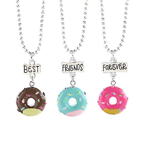 1 paquete de 3 piezas de collar de moda con colgante en forma de donut ligero collar con colgante de palabras 'Best/Friends/Ever', ideal para niños, regalo de niños
