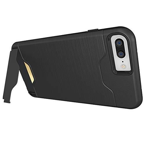 Wdckxy - Funda para iPhone 8 Plus y 7 Plus, textura cepillada separable TPU + PC combinación trasera funda con ranura para tarjeta y soporte st (color negro).