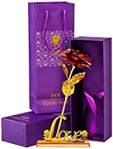 VIRSAA 24K Red Rose with Love Stand, Gift Box and Carry Bag - Best Valentine's Day Gift, Birthday Gifts Gold Dipped Rose (with Love Stand) (Color May Vary)