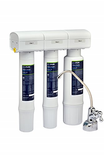 EcoPure Purifier Filtration System (ECOP40) | NSF Certified | Safe Drinking Water Right from Your Kitchen Sink, White