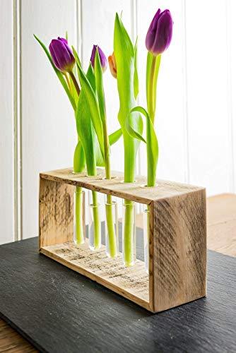 Vase aus Holz von Obstkiste mit 5x Reagenzglas, Herbstdeko