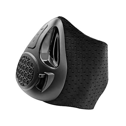 Haowen Máscara de Entrenamiento de altitud Cardio Breathing Entrenador de Fuerza respiratoria 24 Niveles negro15.5 * 13.5 * 9.5cm