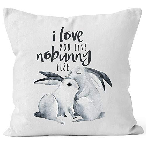 MoonWorks Kissen-Bezug Hase I Love You Like nobunny Else Geschenk Liebe Spruch Liebespruch Wortspiel Watercolor Kissen-Hülle Baumwolle weiß Unisize