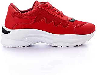 حذاء رياضي جلد صناعي برباط واجزاء قماش بكعب سميك واجزاء جانبية مخيطة للنساء من جرينتا
