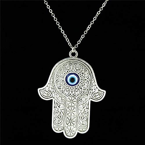 Handmade Alloy 62mm Plus Acrylic Evil Eye Hamsa Hand Pendant Short Chain Collar Necklace 18' Women Jewelry Supplies