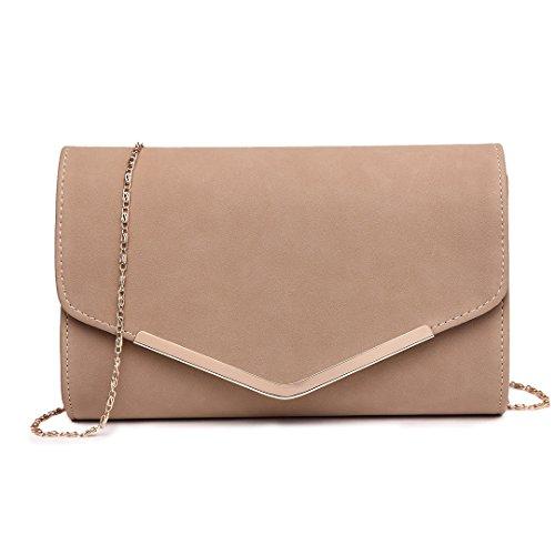 Miss Lulu Elegante Kettentasche Damen Tasche Clutch Bag Handtasche Hochzeit Abendtasche Umhängetasche Mädchen (LH1756 Beige)