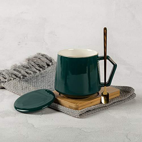 geen logo Creatieve mok keramische mok met deksel lepel thuis gepersonaliseerde koffie ontbijt beker mode schattig meisje drinkbeker paar