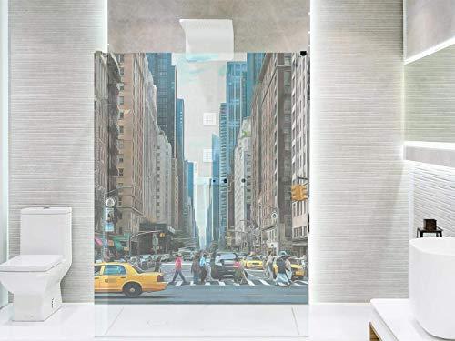 Transparentes Vinyl für Duschwände und Badewannen New York | Mehrere Maße 185x60cm | Beständiger und leicht aufzutragender Klebstoff Dekorativer Aufkleber Dekoratives Design