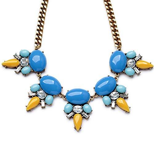 collar Joyas Color Dorado Azul Brillante Colgante Declaración Fiesta Collares Y Colgante