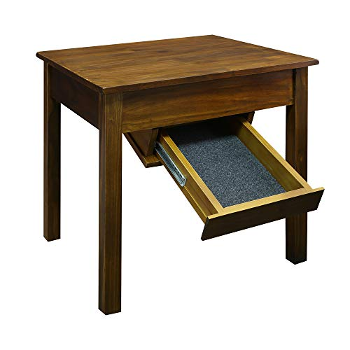 Casual Home Kennedy End Table Drawer, Concealment Furniture, Warm Brown
