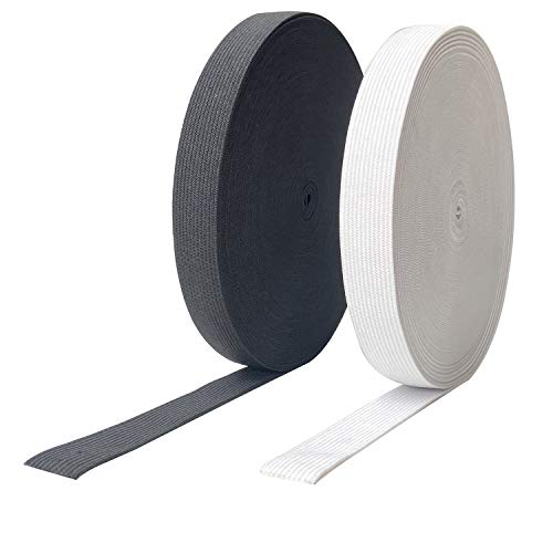 HNXAZG 60 Yards Elastic Stretch Band 1 Inch Wide Elastic Spool 2 Rolls Used for Sewing Pants and Clothes Crafts DIY, Black 30 Yards and White 30 Yards.