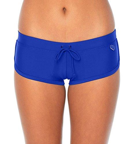 Body Glove Women's Sidekick Solid Sporty Bikini Bottom Swimsuit Short, Smoothies Abyss, Large