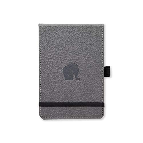Dingbats D5503GY Wildlife A6+ Reporter Hardcover Notizbuch - PU-Leder, Mikroperforiert 100gsm Creme Seiten, Innentasche, Gummiband (Kariert, Grauer Elefant)