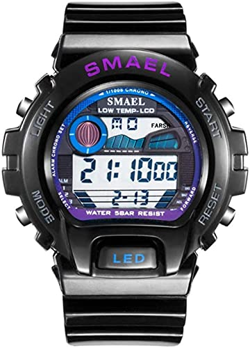 NLRHH Relojes Deportivos Digitales para Hombres Reloj Deportivo electrónico Impermeable LED Reloj electrónico multifunción Impermeable Peng para Hombres-Black Rple