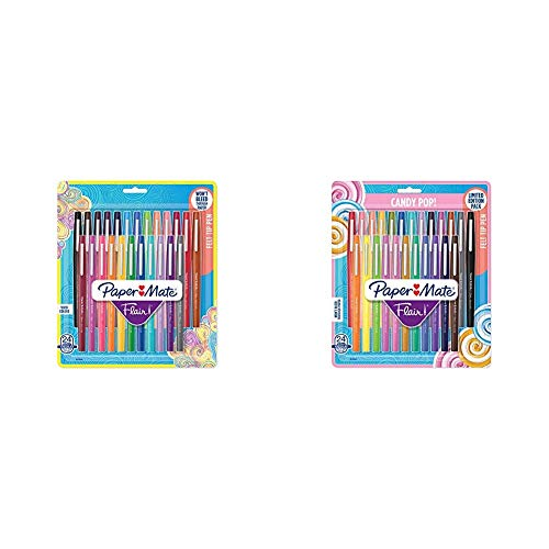 Paper Mate Flair Felt Tip Pens, Medium Point (0.7mm), Assorted Colors, 24 Count & Mate Flair Felt Tip Pens, Medium Point (0.7mm), Limited Edition Candy Pop Pack, 24 Count