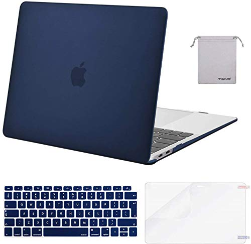 MOSISO MacBook Air 13 inch Case 2020 2019 2018 A2337 M1 A2179 A1932, Plastic Hard Shell&Keyboard Cover&Screen Protector&Storage Bag Compatible with MacBook Air 13 inch Retina, Navy Blue