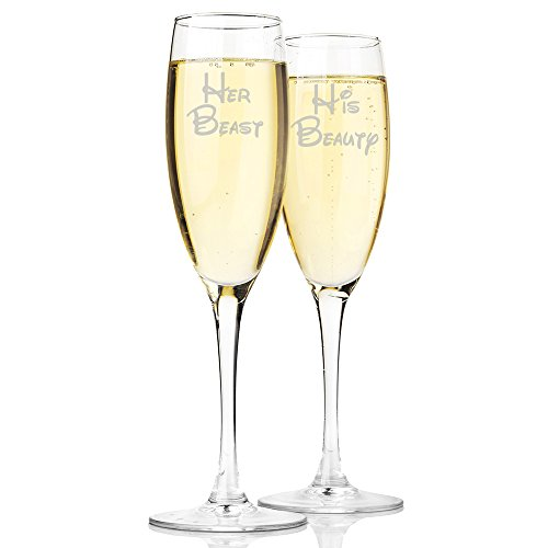 Her Beast and His Beauty Champagne Toasting Flute Glasses, Set of 2