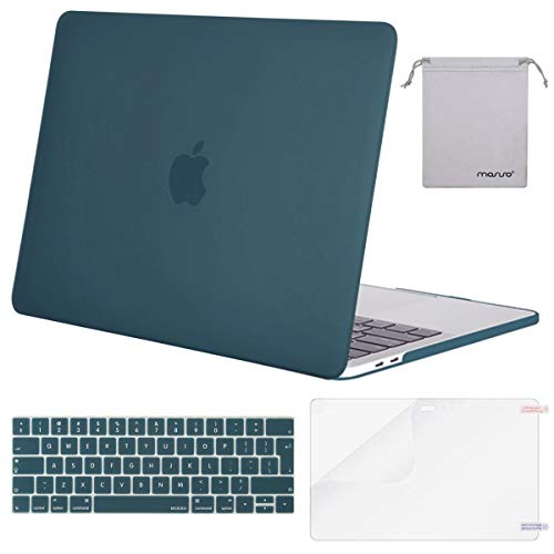 MOSISO MacBook Pro 15 inch Case 2019 2018 2017 2016 Release A1990/A1707, Plastic Hard Shell & Keyboard Cover & Screen Protector & Storage Bag Compatible with Mac Pro 15 Touch Bar, Deep Teal