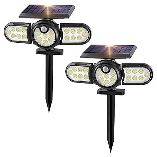 Luces Solares Exterior, Inalámbrico 120 LED Focos Solares IP65 Impermeable 2 en...