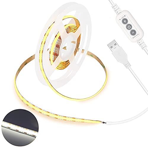 USB 5V LED Streifen Weiß 6000K,PAUTIX 640LEDs COB LED Strip Lights 2M CRI80+,Dimmbare Flexibel Lichtstreifen für TV Hintergrundbeleuchtung,Spiegel, Schrank,Kleiderschrank,Zuhause DIY Beleuchtung