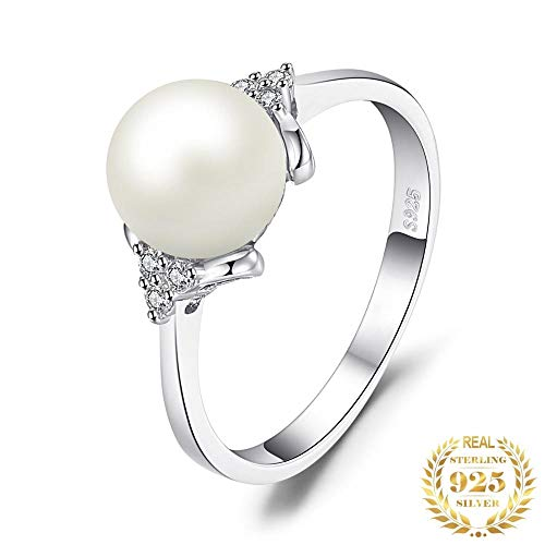 IWINO 8 mm zoetwater gekweekte parel ring 925 sterling zilveren ringen voor vrouwen verlovingsring zilver 925 edelstenen sieraden